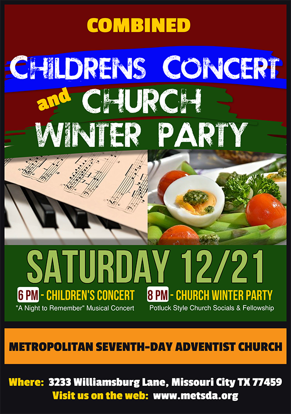 Children's Musical Concert and Church Annual Winter Banquet Houston Sugar Land Missouri City Texas