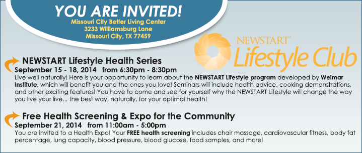 Missouri City Better Living Center - New Start Lifestyle Club Health Series and Health Expo